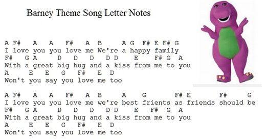 Image Result For Barney The Dinosaur Sheet Music Songs Kids Songs Barney The Dinosaurs