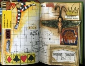 art journal by haley,( my background is ledger paper but I have a monkey w/ wings and a crown!)