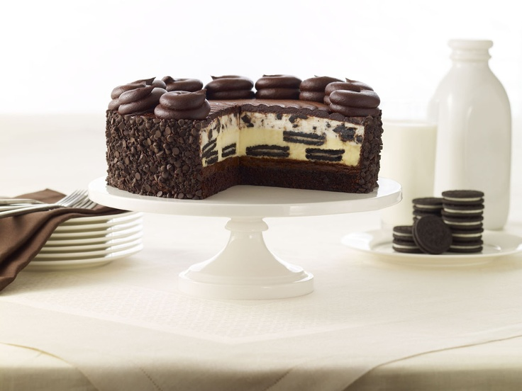 OREO® Dream Extreme Cheesecake: OREO® Cookies baked in our creamy Cheesecake with layers of fudge cake and OREO® Cookie mousse. Topped with a milk chocolate icing. Best of all -- 25¢ from the sale of each slice will be donated to Feeding America!