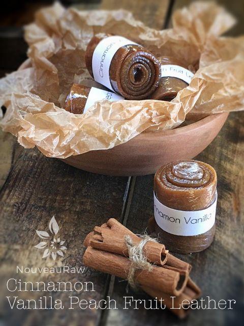 Cinnamon Vanilla Peach Fruit Leather (raw, vegan, gluten-free, nut-free)