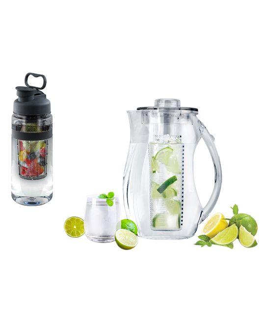 Black Fruit-Infuser 32-Oz. Water Bottle & 2.5-L Pitcher
