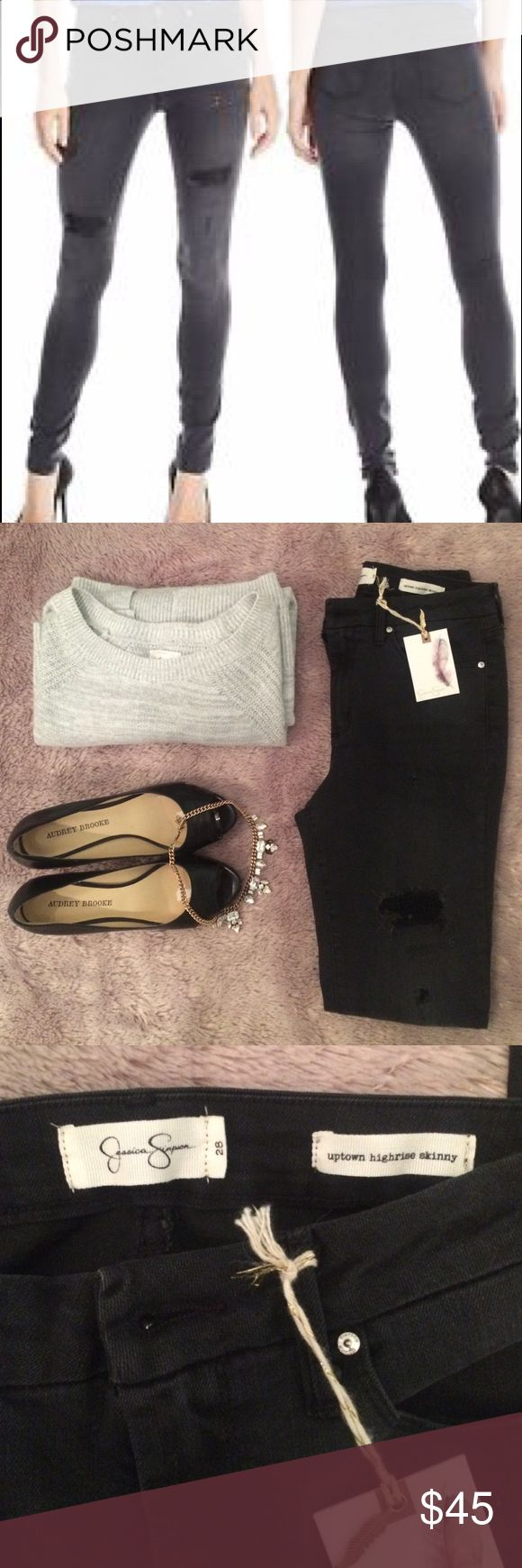 Jessica Simpson Uptown Highrise Skinny Gorgeous dark gray, slightly distressed Jessica Simpson jeans that can easily be dressed up or down. These are brand new and a fun staple to add to any closet! Jessica Simpson Jeans Skinny