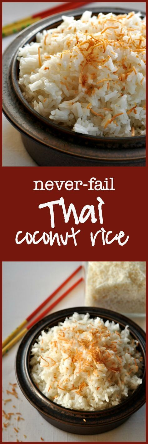 Thai Coconut Rice. Turns out perfectly every time.  So easy! Made with Jasmine rice, this dish has a subtle coconut flavour. This recipe hasn't failed me yet!