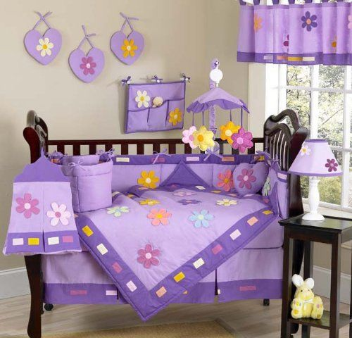 Danielles Daisies Flower Baby Girl Purple Floral Bedding 9pc Purple Crib Bedding Set by Sweet Jojo Designs