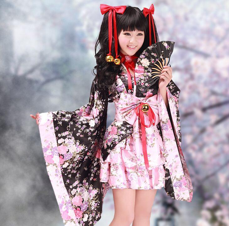 Pas cher Livraison Gratuite Cerise Fleurs Femmes Traditionnel Japonais Kimono Lolita Dress Cosplay Costume, Acheter  Costumes animés pour hommes de qualité directement des fournisseurs de Chine:Livraison Gratuite Cerise Fleurs Femmes Traditionnel Japonais Kimono Lolita Dress Cosplay Costume