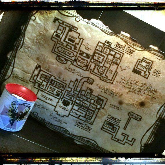Resident Evil Map Resident Evil Remake 2002 Prop Vintage Replica