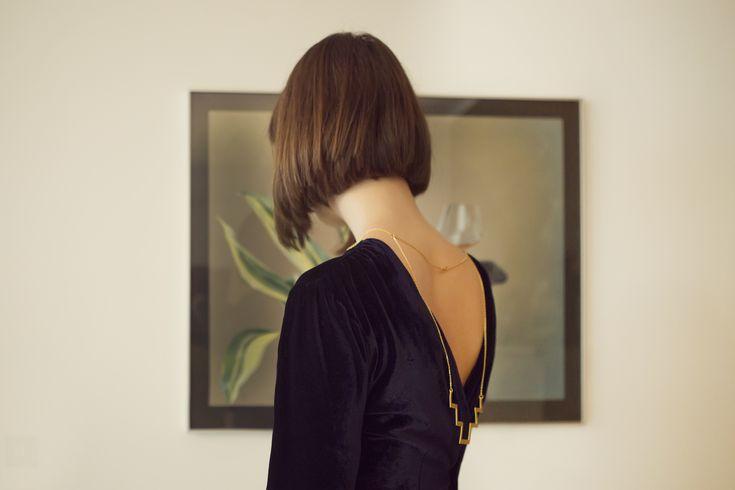 Velvet Dress with minimal necklace!