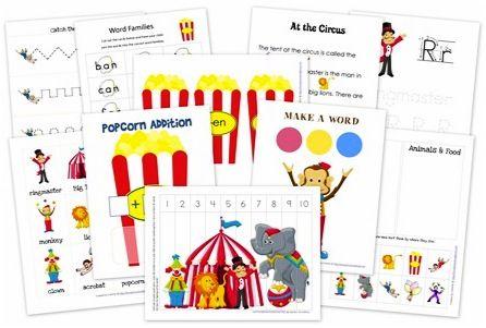 FREE Educational Printables for Kids! {circus preschool pack}
