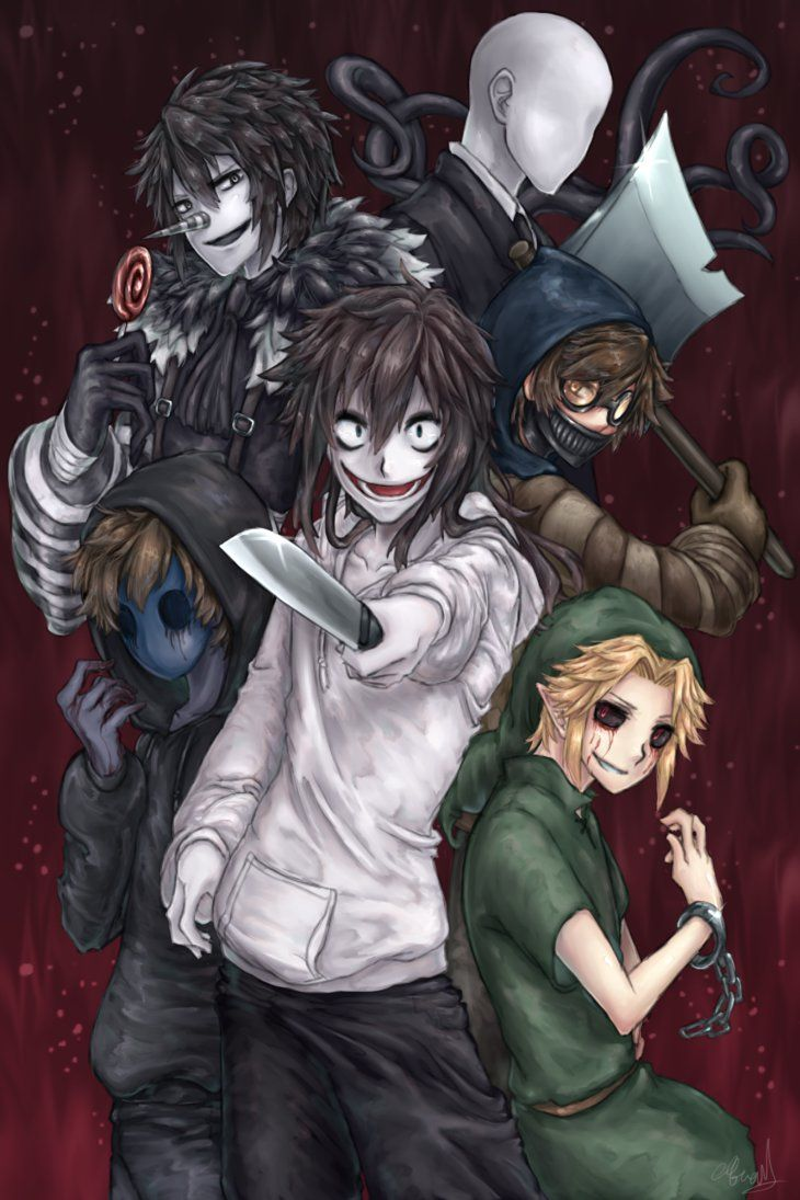 Slenderman, Laughing Jack, Ticci Toby, Eyeless Jack, Jeff the Killer, and Ben Drowned WHERES MASKY AND HOODIE?!? TOBY'S THERE!!!