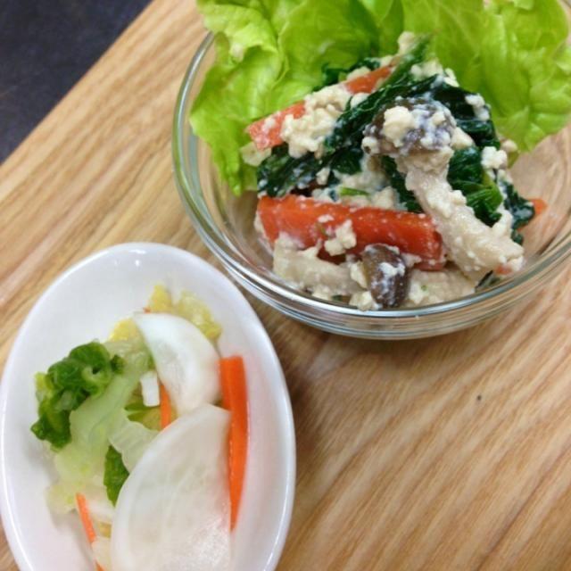 副菜、副副菜に。 こういう一品は、 ほっとした気持ちに なりますね(^-^) - 8件のもぐもぐ - 法蓮草、人参としめじの白和え・白菜とカブの浅漬け by Yumie Hironaka