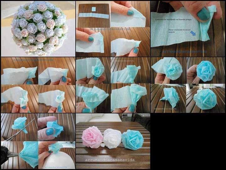Rosen aus Krepppapier kann man aber auch aus Stoff oder andere Materialien machen