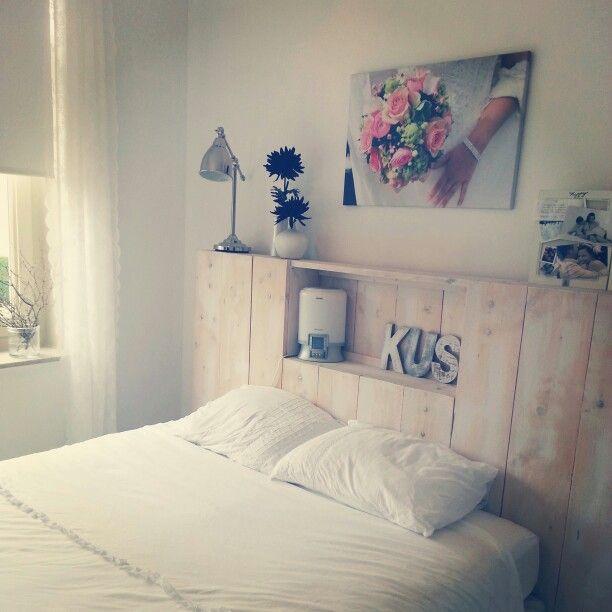 Hoofdbord van steigerhout met leuke nis en bovenplank ♡