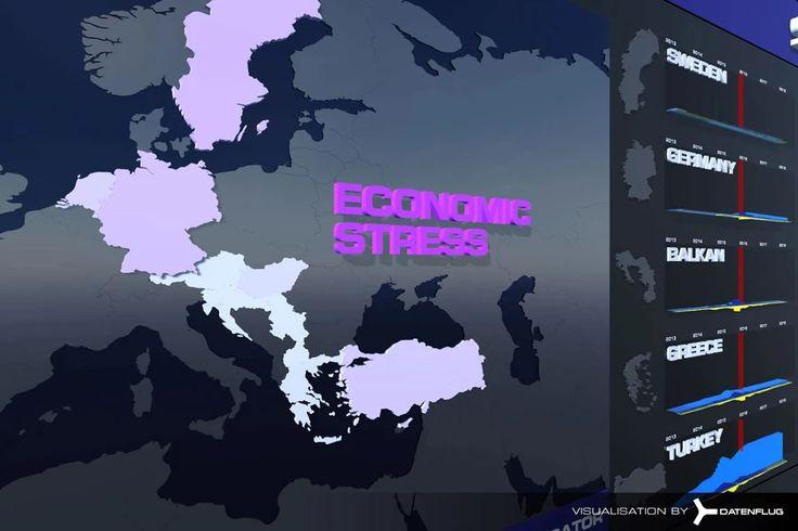 Vorausschauenden Analyse in einer interaktiven Karte zu Flüchtlingsströmen in Europa. Das Projekt Syria / Refugee Complex wurde für vorausschauende Analysen (predictive analytics) als Simulation entwickelt. Die Datenvisualisierung bildet die gesamte Komplexität der Flüchtlingsströme von Syrien über die Türkei in alle europäischen Länder ab. Die Präsentation ist interaktiv und kann über Virtual Reality erlebt werden.
