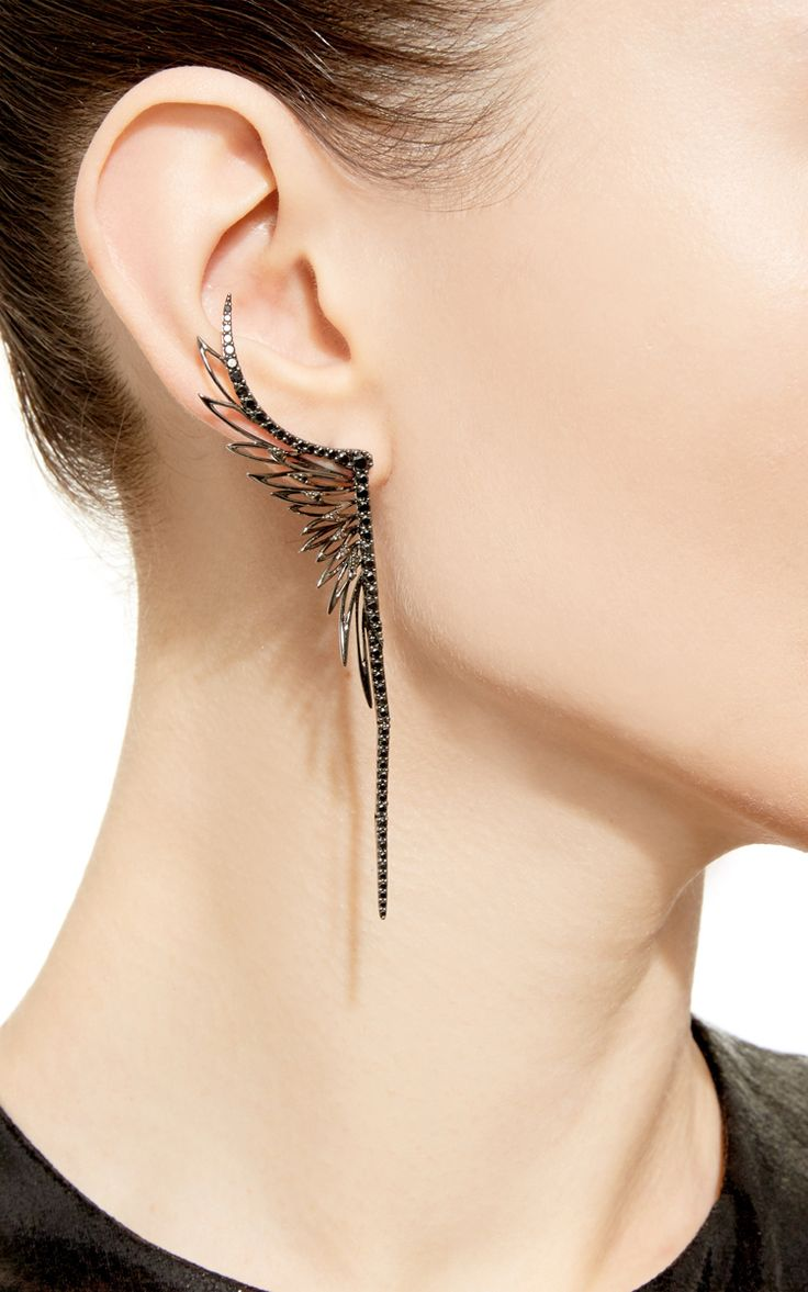Black Rhodium Ear Cuff With Matching Single Stud by CristinaOrtiz for Preorder on Moda Operandi