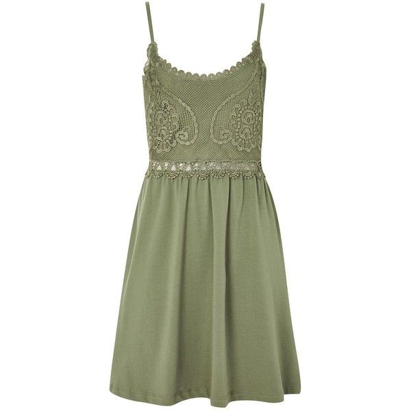 TopShop Petite Crochet Lace Sun Dress ($55) ❤ liked on Polyvore featuring dresses, khaki, green summer dress, beach sun dress, green sundress, cotton summer dresses and mini dress