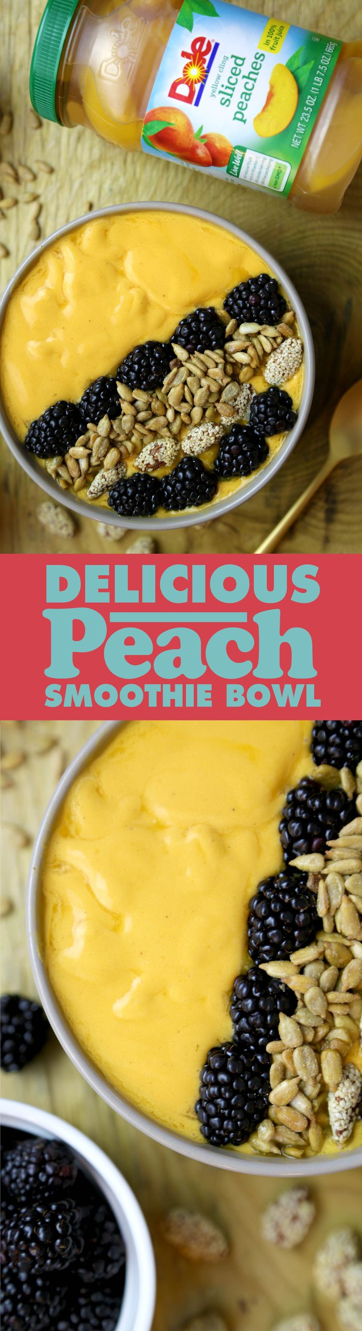 Blend your DOLE® Jarred Sliced Peaches with ice cubes and yogurt to make a tasty Peach Smoothie Bowl. Add your favorite toppings!