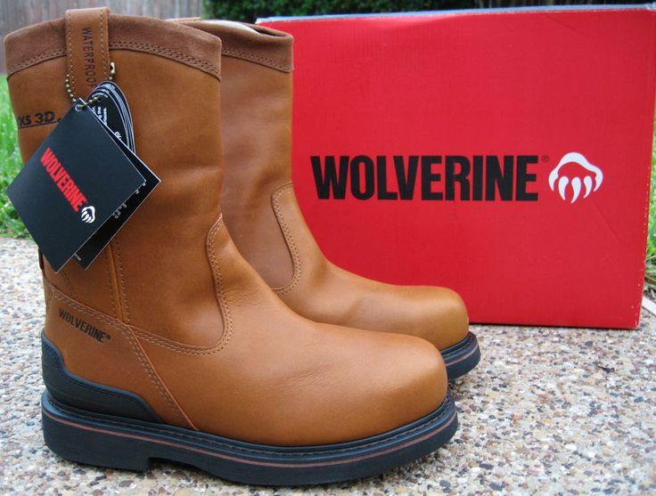NEW Mens Wolverine Triad Wellington Tan Leather Steel Toe Waterproof Work Boots #Wolverine #WorkSafety