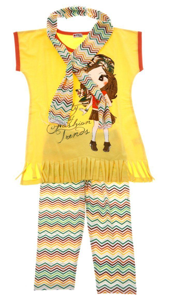 Εβίτα παιδικό σετ μπλούζα-φουλάρι-παντελόνι κάπρι «Fashion Trends»  €14,50