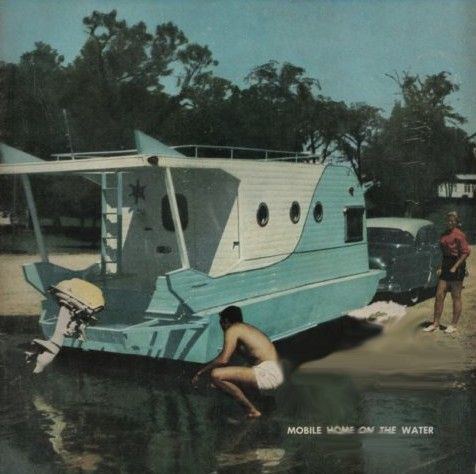 """Trail-it Houseboat  (1957)  =^..^=Thanks, Pinterest Pinners, for stopping by, viewing, re-pinning, & following my boards. Have a beautiful day! ^..^ and """"Feel free to share on Pinterest ^..^ *•.¸♡¸.•**•.¸  #art"""
