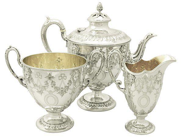 Plata esterlina tres pieza servicio de té - antiguo victoriano