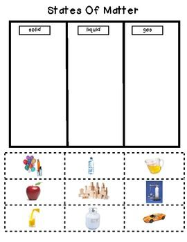 States of Matter Worksheet - Solid Liquid and Gas