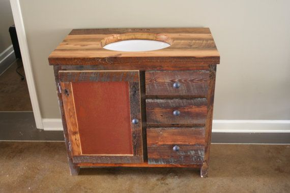 Rustic Bathroom Vanity heartwood pine handmade storage drawers sink on Etsy, $1,050.00