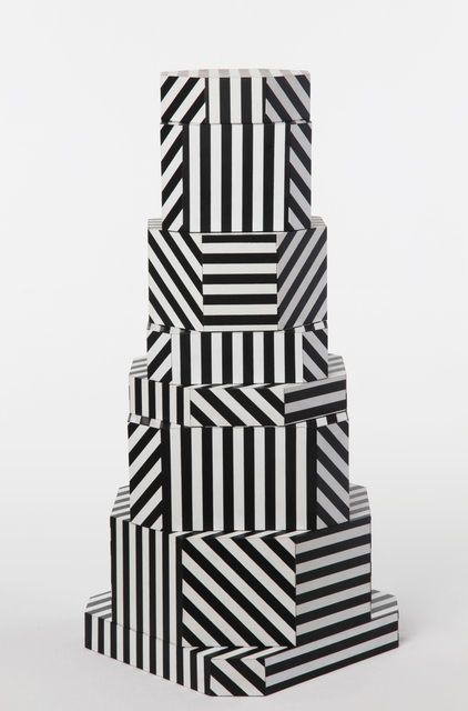 """Oeuffice, """"Ziggurat Tower"""" set of stacking boxes, Black Stripes edition (2012)"""