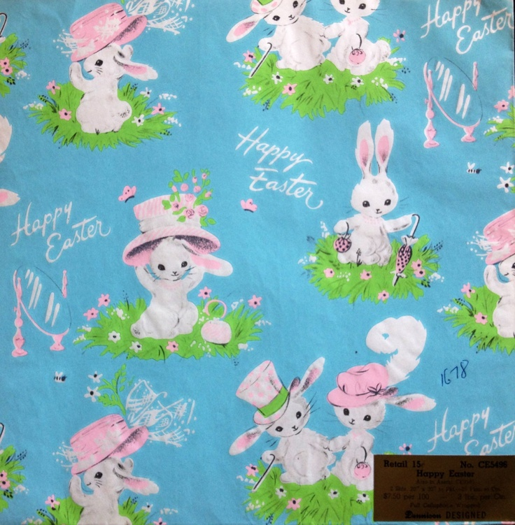 2393 best happy easter cards crafts and ideas images on bunnies dress their best dennison vintage wrapping paper gift wrap 825 via etsy negle