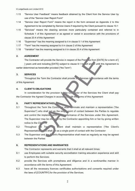 Janitorial service contract sample templates for Agreement to provide services template