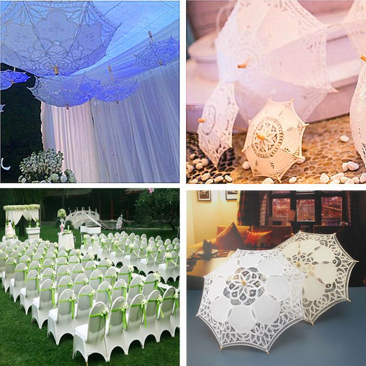 21''Women Bride Cotton Lace Embroidery Hollow Out Umbrella Parasol Wedding Prop Decoration Cheap - NewChic