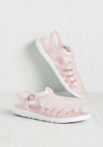 Ready for This Jelly? Sandal in Blush - Pink, Solid, Cutout, Casual, Beach/Resort, Vintage Inspired, 90s, Pastel, Summer, Good, Variation, Pink, Pastel, Low