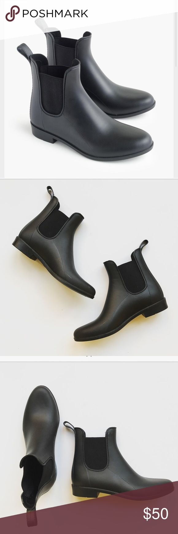 """J. Crew Chelsea Rain boots matte black Super cute pair of J. Crew Chelsea rain booties. Matte black. Perfect for upcoming fall season! So comfy and stylish! Size 8 but run 1/2 small. 1"""" heel. New without box. No trades! J. Crew Shoes Winter & Rain Boots"""