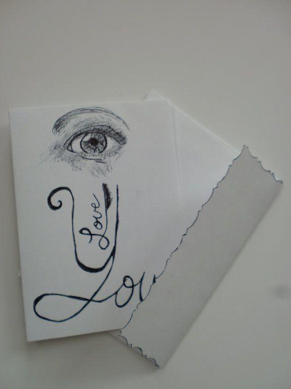 I love you card eye love you original pen sketch by onthefarm, $7.00