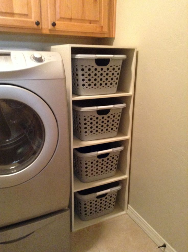 Perfect shelves for laundry baskets