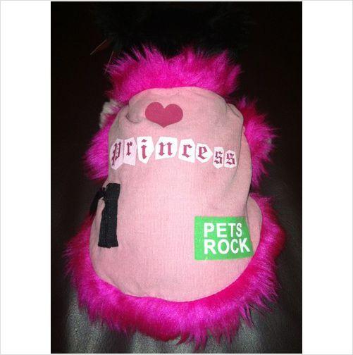 Rock Princess Pink Dog Coat Jacket Fur Trimmed Small Velcro