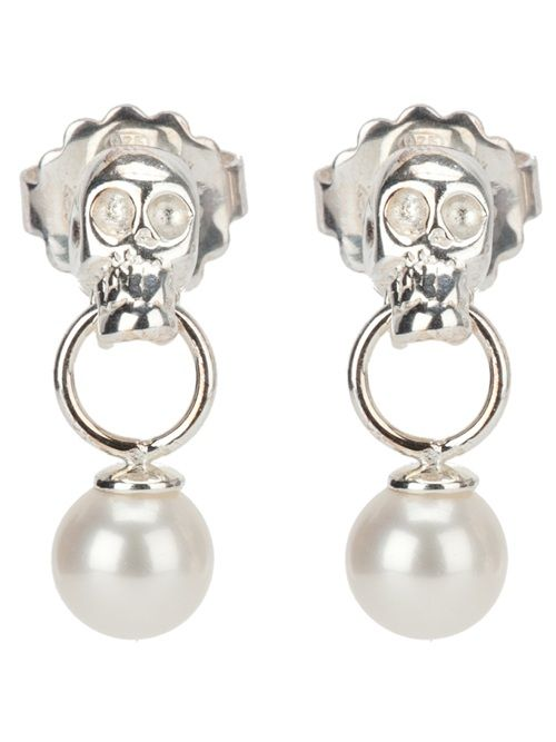 Silver drop pierced earrings from Delfina Delettrez featuring skull and faux pearl detail.
