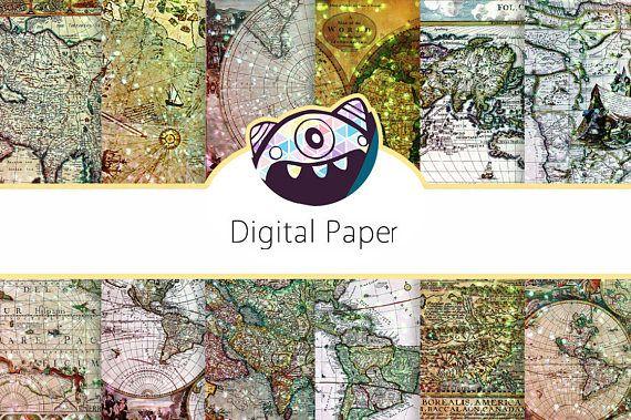 Map Scrapbook Paper: Map Digital Paper, Glitter Digital Paper, Map Digital Paper, Nautical Background, Printable Nautical Paper DG08