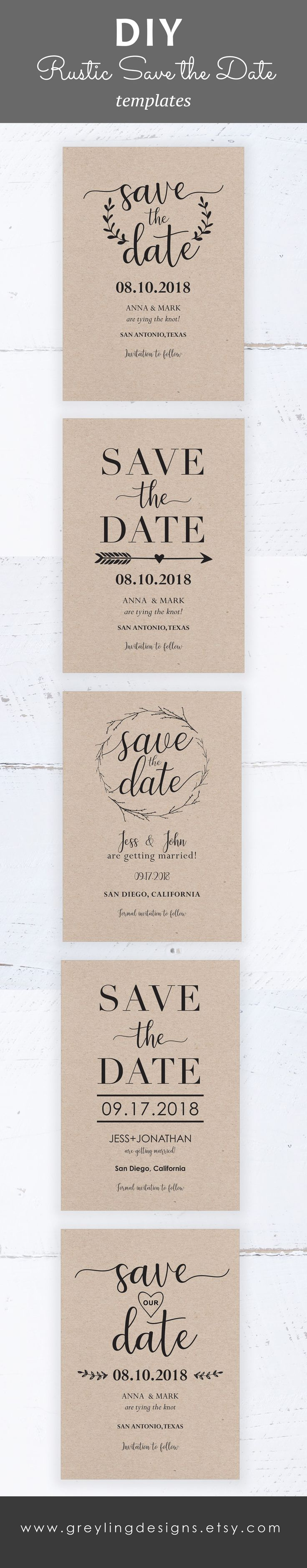 rustic wedding invitations diy kits%0A Rustic save the date template  instant download  editable template   printable save the date