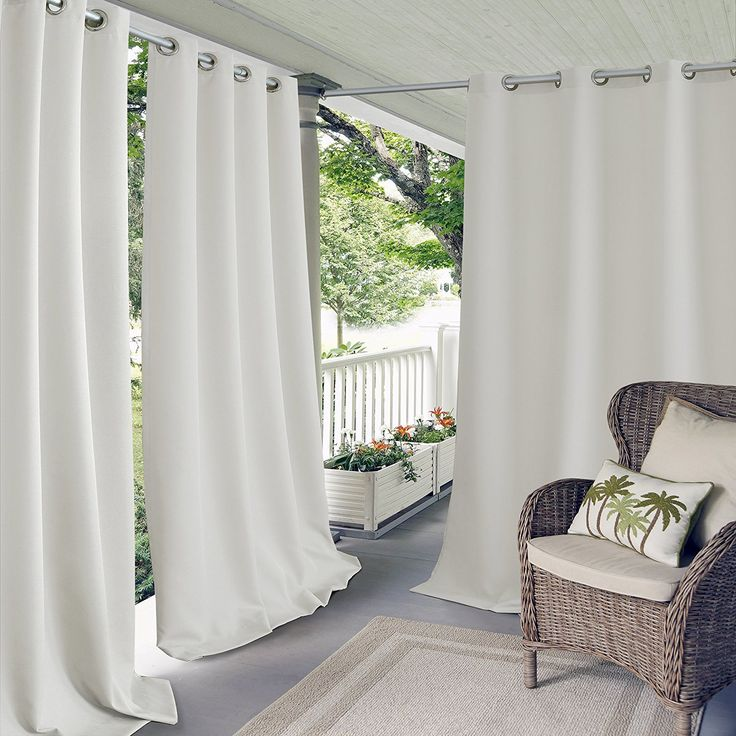 95 Inch Outdoor White Solid Color Gazebo Curtain Outside