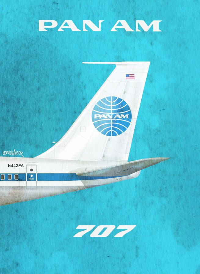 Pan Am 707, by Rick Aero www.Facebook.com/VintageAirliners  www.VintageAirliners.com