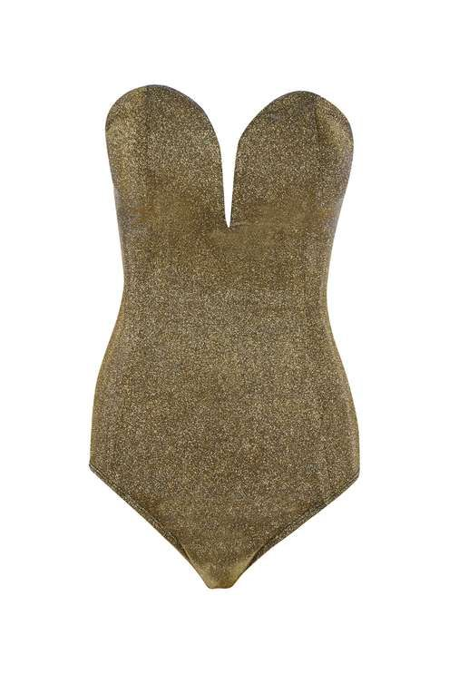 **Metallic Sweetheart Bustier Bodysuit by Rare