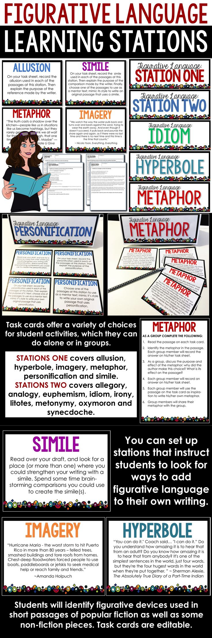 Figurative Language Activities: English teachers, do your students need help with understanding and using figurative language? These stations offer you multiple ways to engage your student in learning about these devices while you get them up and moving!