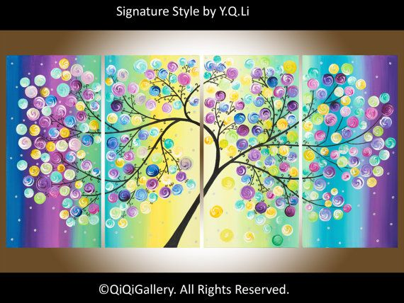 """Contemporary Landscape Abstract tree Painting Heavy Texture Impasto Canvas fine art Tree Branches """"The Wishing Tree"""""""