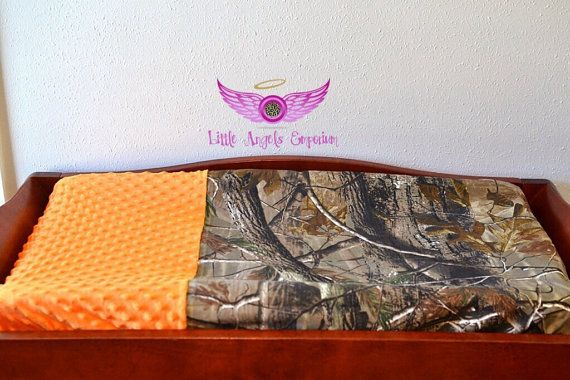 Real Tree Camo and Orange Minky Changing by LittleAngelsEmporium, $25.00