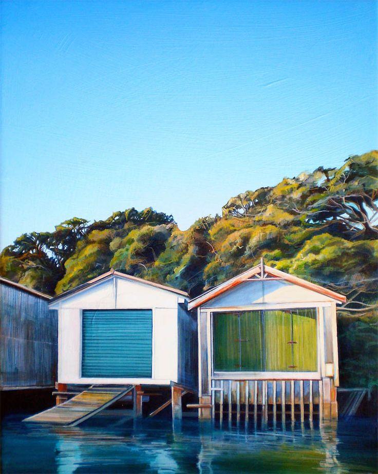 Parnell Gallery Artist Caroline Bellamy Auckland Orakei Boatsheds  http://www.parnellgallery.co.nz/artworks/artist-caroline-bellamy/auckland-orakei-boatsheds/