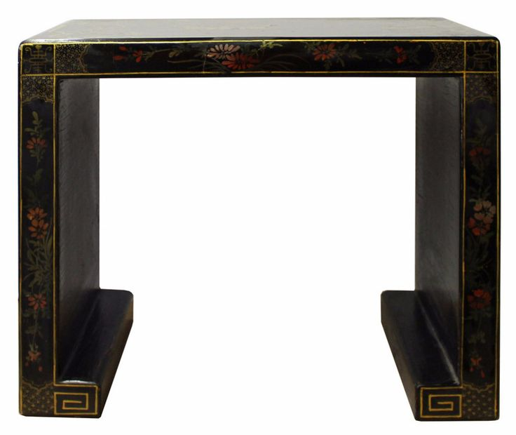 Chinese Black Lacquer Oriental People Scenery Table Stand cs2862S