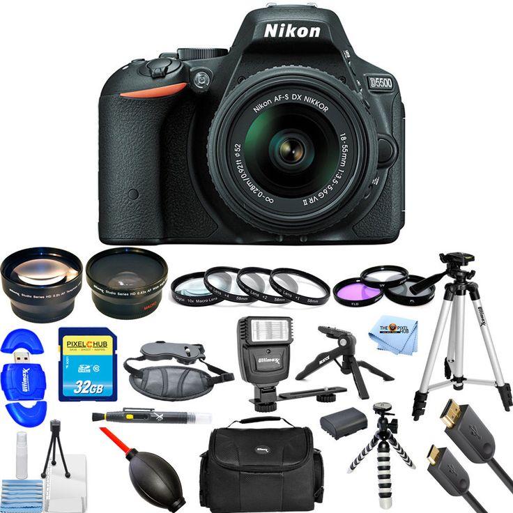 Nikon D5500 DX-format Digital SLR W/ 18-55mm VR II Kit (Black)! MEGA BUNDLE NEW!