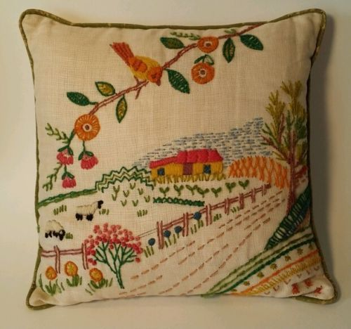 Vintage Crewel Embroidered Pillow