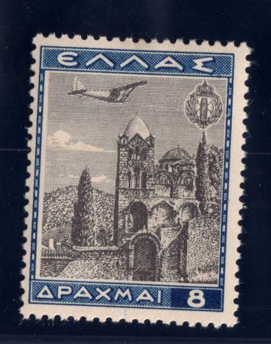 Greece Air Post Stamp 1940 SC C41 8d MH OG Dark Blue, Black Church of Pantanassa