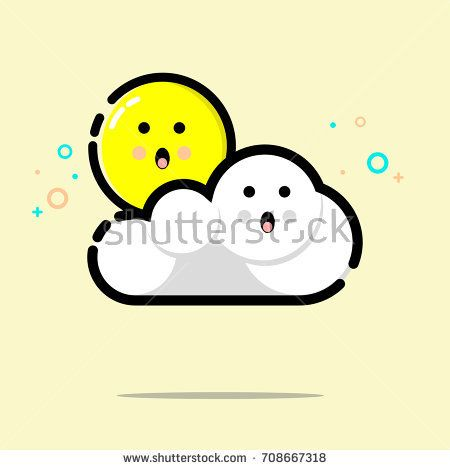 Cute shock sun and cloud icon design. Vector illustration for icon or logo. MBE style eps.10